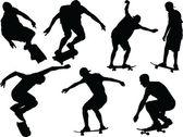 Skateboard silhouette - vector — Wektor stockowy