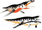Liopleurodon collection - vector — Stock Vector
