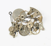 Old broken clock parts — Stock Photo
