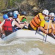 Rafting on the mountain river — Stock Photo