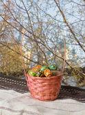イースター バスケット卵、教会の背景 — ストック写真