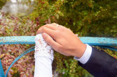 Wedding couple hands on parapet — Stock Photo