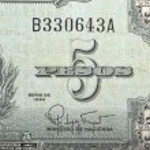 Постер, плакат: Vintage elements of old paper banknotes Pre revolutionary Cuba 5 pesos 1960