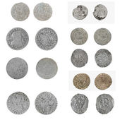 Set old silver Poland coins — Stock Photo