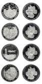 Set silver commemorative coins day division of Germany — Stock Photo