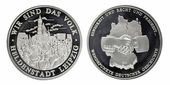 Silver commemorative coins day division of Germany — Stock Photo