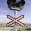 Traffic signal in route of train — Stock Photo