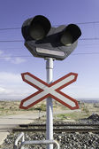 Traffic signal in route of train — Foto de Stock