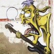Graffiti guitarist — Stock Photo