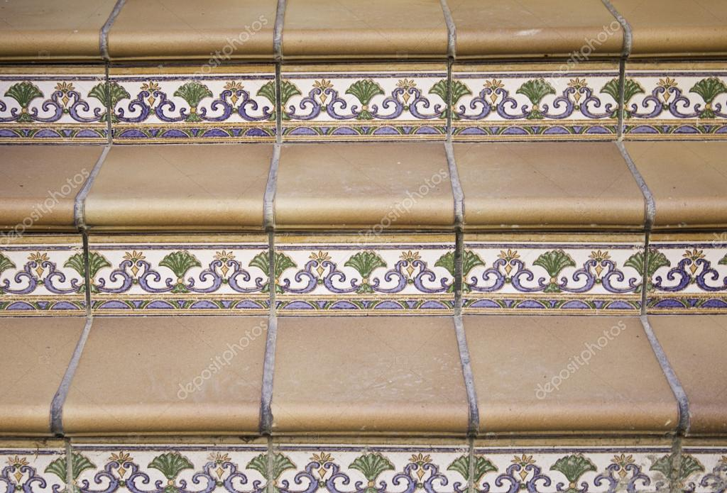 Stairs with tiles in the form of mosaic and marble decoration home — Stock Photo #15629519