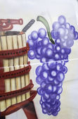 Grapes and barrel — Stock Photo