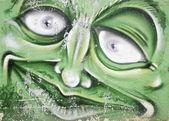 Green face — Stock Photo