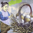 Girl with eggs — Stock Photo
