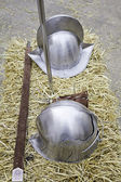 Métal casques médiévaux — Photo