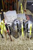ребенок средневековой шлемы — Стоковое фото