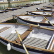 Stock Photo: Pier canoes