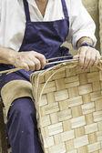 Craftsman making baskets — Stock Photo