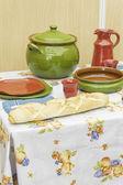 Ceramic and bread — Stock Photo