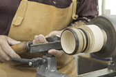 Wood and lathe worker — Stock Photo