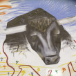 Foto de Stock  : Bull graffiti Wall