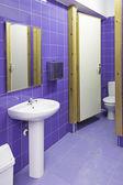 Blue tiled bathroom — Stock Photo