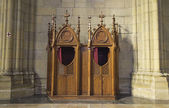 Confessional in church — Stock Photo