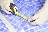 Tile Worker Manual — Stock Photo