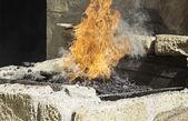 Fire on coals — Stock Photo