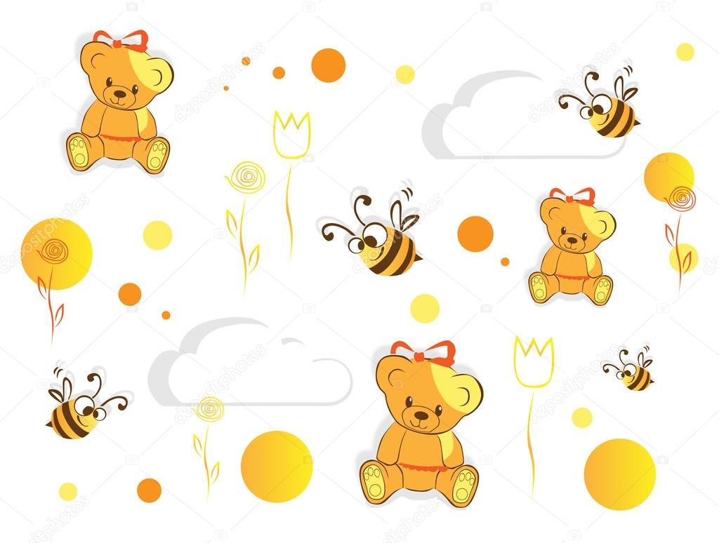 结构与熊和蜜蜂— 矢量图片作者