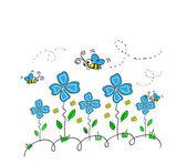 Abeilles et fleurs — Vecteur