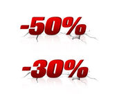 Discount of 30 per cent and 50 — Stockfoto