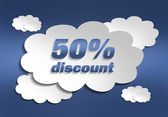 Applique discount, sky, clouds — Stock Photo