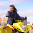 Dyakova Helen on quadrocycle. — Stock Photo