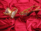 Photo of opened feminine loafer with jewels on background red velvet. — Stock Photo