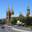 ADELAIDE - DECEMBER 5: Traffic and Cathedral in centre of city. — Stock Photo