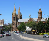 Traffic and Cathedral in centre of city. December 5, 2007 in Adelaide, Australia. — Stock Photo