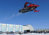 Russia, Nadym. Snow cross-country race. Jump. — Stock Photo