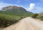 áfrica. quênia. a bela paisagem montanhosa com estrada. — Fotografia Stock