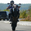 Stock Photo: Russia, Nadym. Wheely on sportbike.