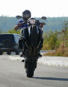 Russia, Nadym. Wheely on sportbike. — Stock Photo
