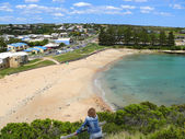 The Small comfortable borough with beach and lagoon. Great Ocean Road, Australia, Victoria, National park. — Stock Photo