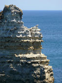 The formation from flaky, rocky limestone. Great Ocean Road, Australia, Victoria, National park. — Stock Photo