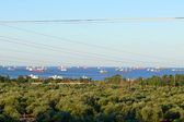 Siria. baniyas. navi a vela nel mediterraneo. — Foto Stock