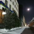 NADYM, RUSSI- FEBRUARY 25, 2013: New Year - holiday in Nadym, Russi- February 25, 2013. Festive street decorations. Beautifully illuminated building and trees. Far north, Nadym. — Stock Photo #36090619