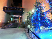 Bank building close-up in Nadym, Russia - February 25, 2013. Beautifully illuminated building and trees. Far north, Nadym. — 图库照片