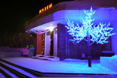 The building of the Museum in Nadym, Russia - February 25, 2013. Beautifully illuminated building and trees. Far north, Nadym. — Stock Photo
