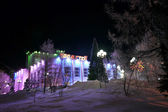 New year tree in the center of the city in Nadym, Russia - February 25, 2013. Beautifully illuminated building and trees. Far north, Nadym. — Stock Photo
