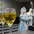 ������, ������: New Year Wine glasses with champagne closeup Premises Unknown man dressed as Santa Claus Unknown girl dressed as Snow Maiden