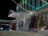 Porch office building close-up. New Year. Christmas decorations. — Stock Photo