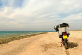 Egypt. Motorcycle close up on a deserted beach of the Red Sea. — Stock Photo